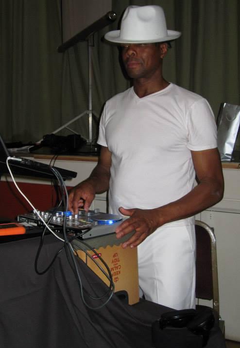 Leroy busy DJing.